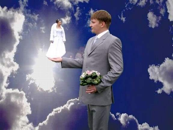 I know he thinks she's an angel, but this is going a little too far. image