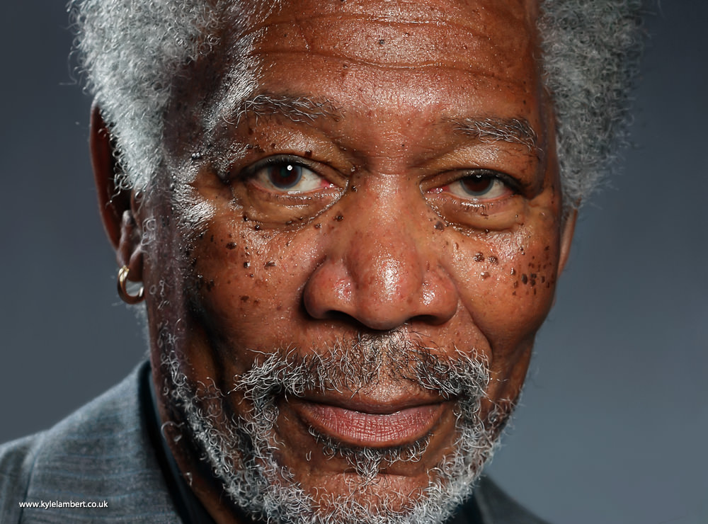 kyle lambert morgan freeman photorealistic ipad painting image