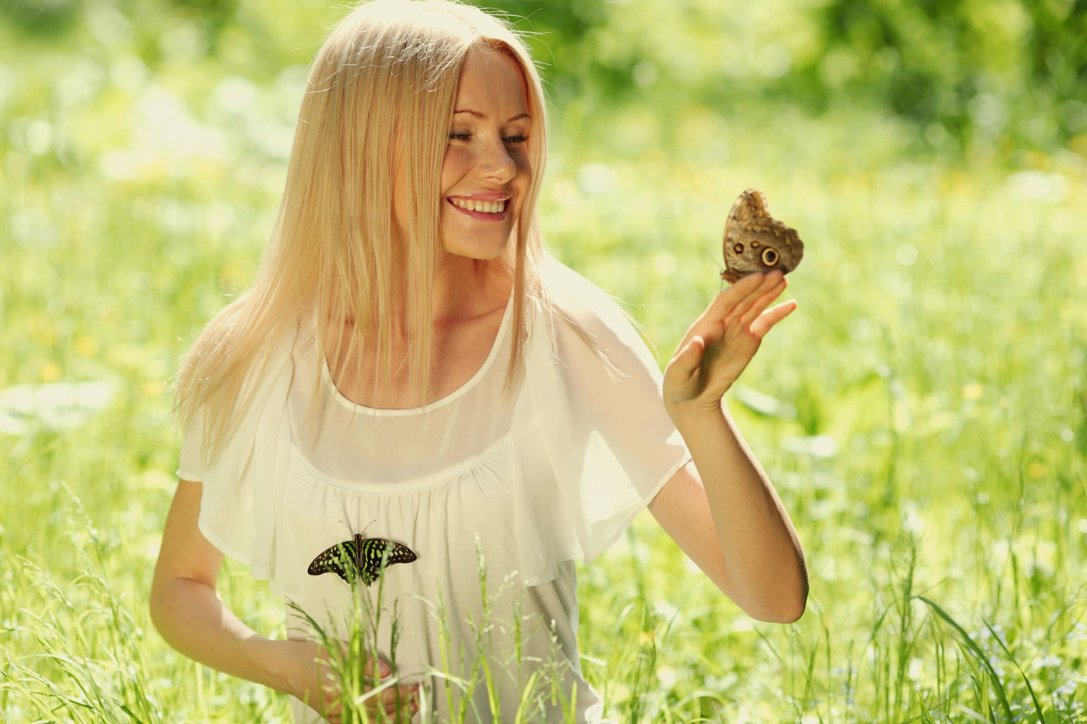 Woman in field holding butterfly  image
