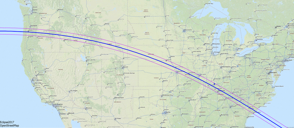 Map of the solar eclipse 2017 USA By Wolfgang Strickling [CC BY-SA 2.5 (http://creativecommons.org/licenses/by-sa/2.5)], via Wikimedia Commons image