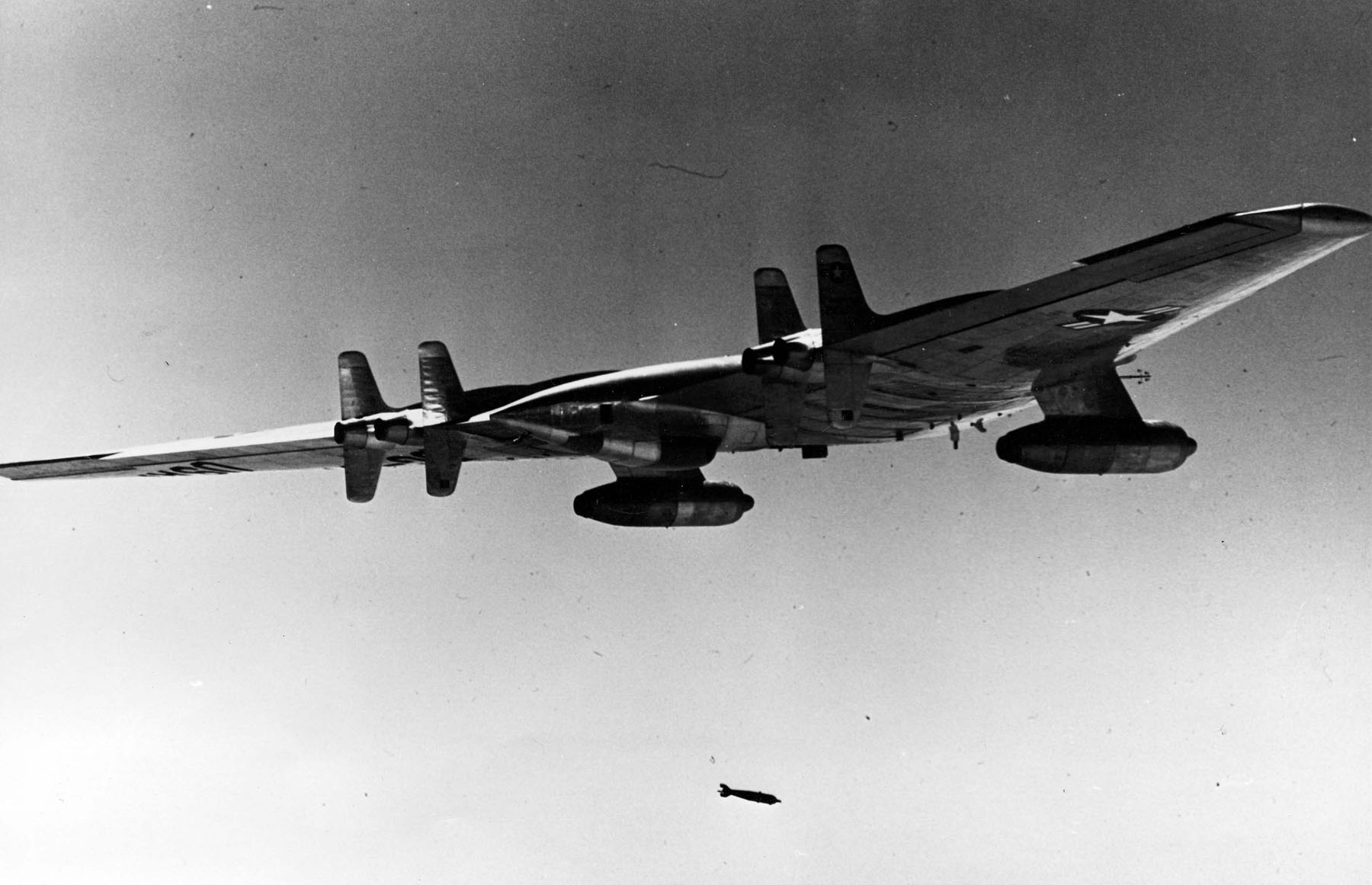Northrop YRB 49A in flight dropping a photo flash bomb 061025 F 1234S 029 image