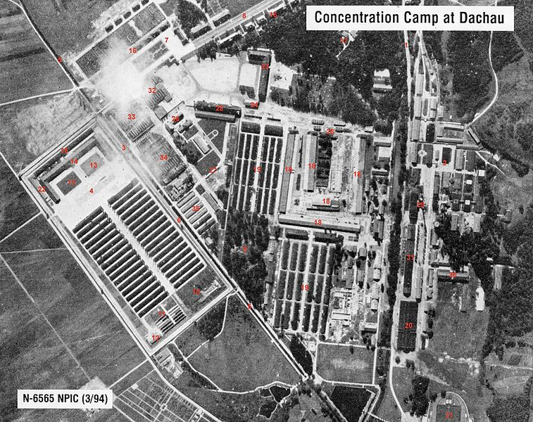 757px Concentration camp dachau aerial view image