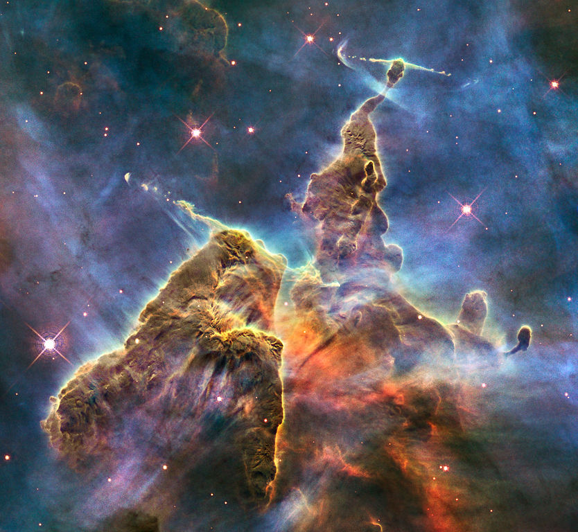 HH 901 and HH 902 in the Carina nebula captured by the Hubble Space Telescope image