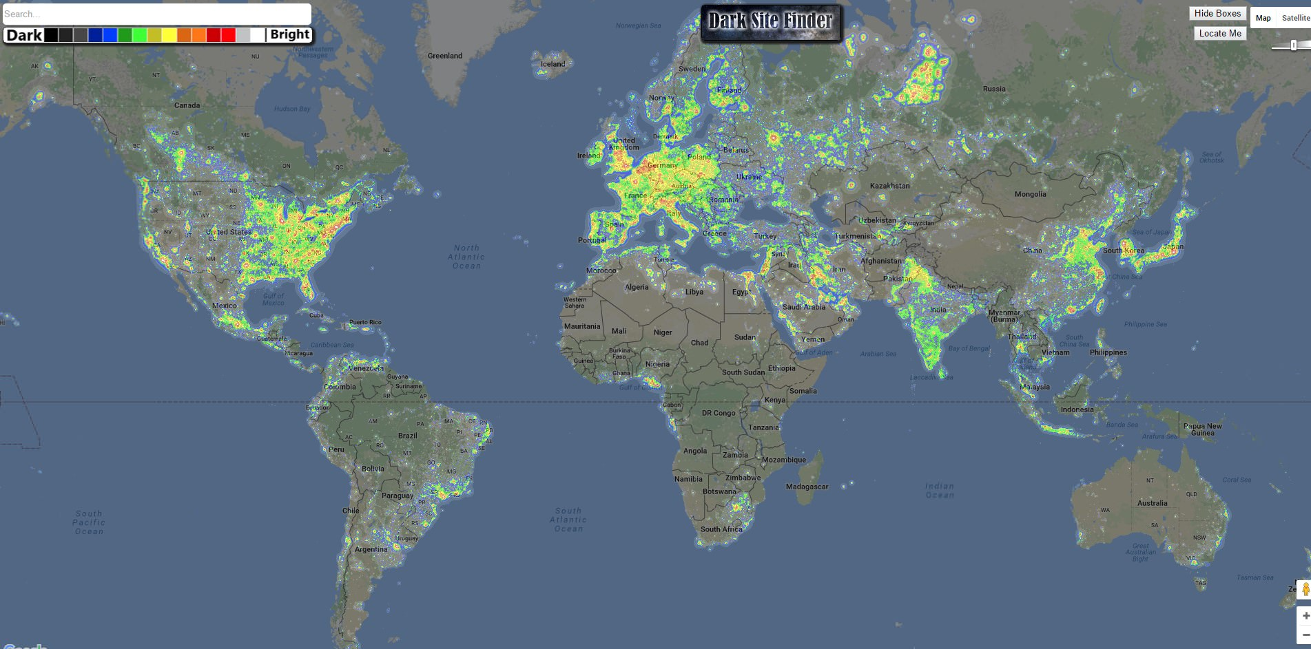 DarkSiteFinder.com Light Pollution Map image