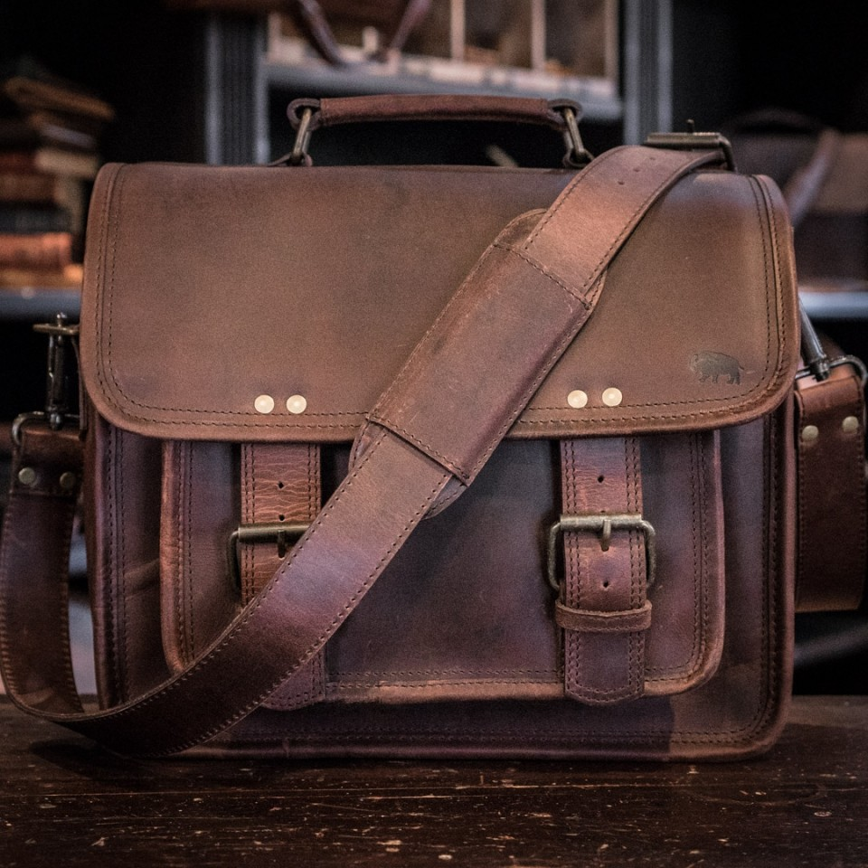 mens rugged leather camera bag dark walnut roosevelt front image
