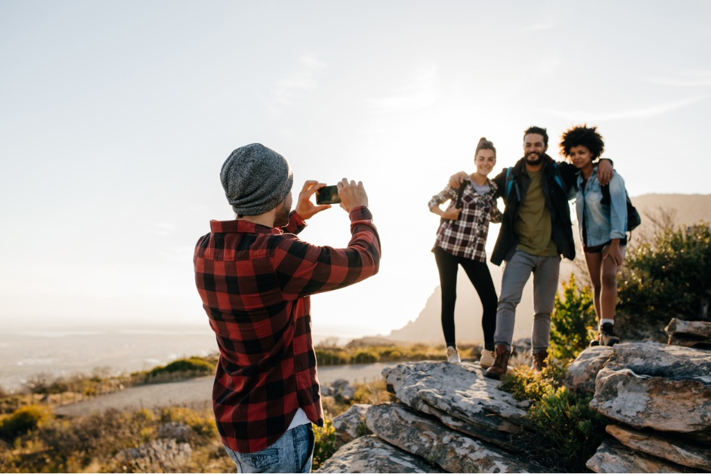 group of people on hiking taking photographs picture id641553182 image