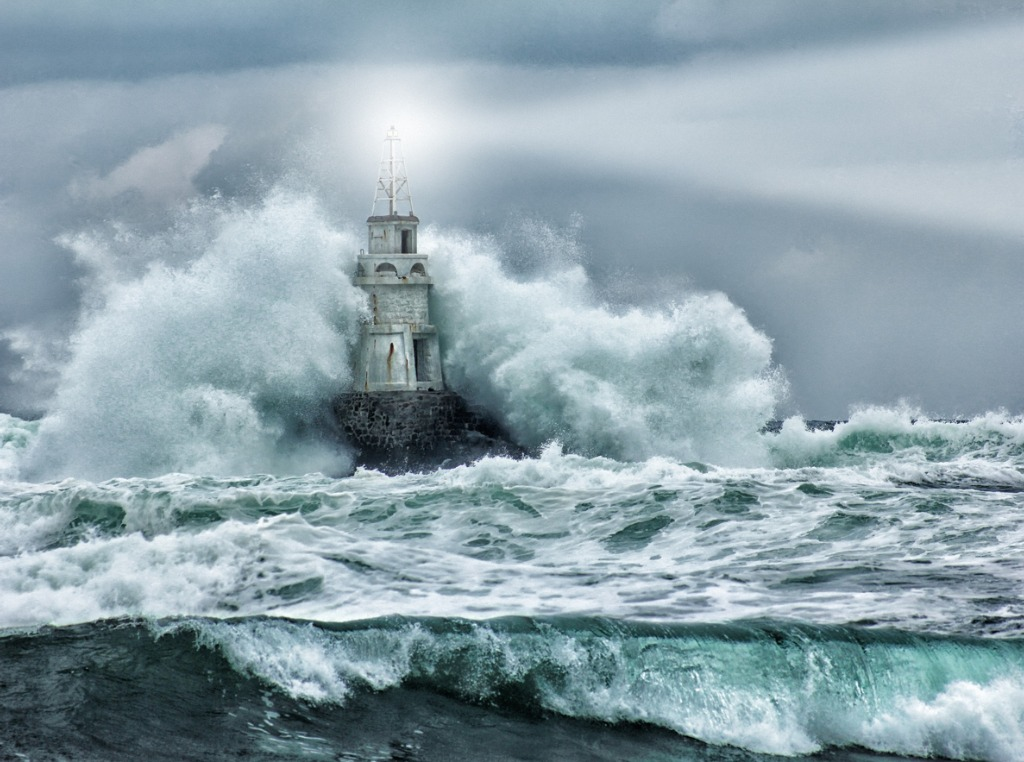 lighthouse and storm picture id487880187