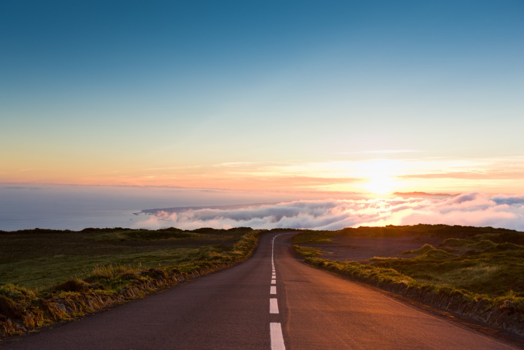 sunset highway into the clouds picture id117146059 image