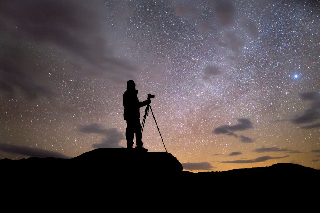 silhouette of photographer at night picture id475446358