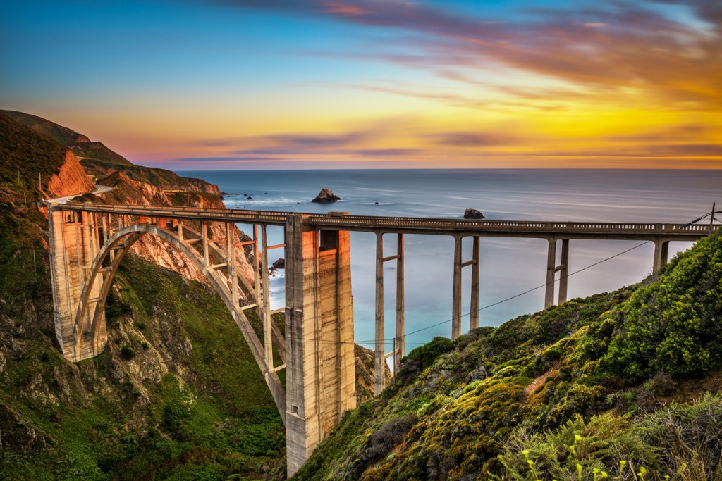 bixby bridge and pacific coast highway at sunset picture id667071670 image
