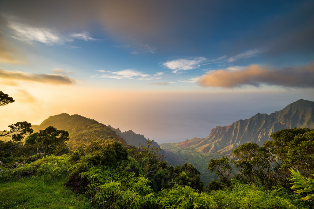 sunset over kalalau valley picture id686265216 image