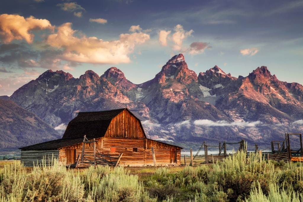 moulton barn and tetons in morning light picture id186546668 image