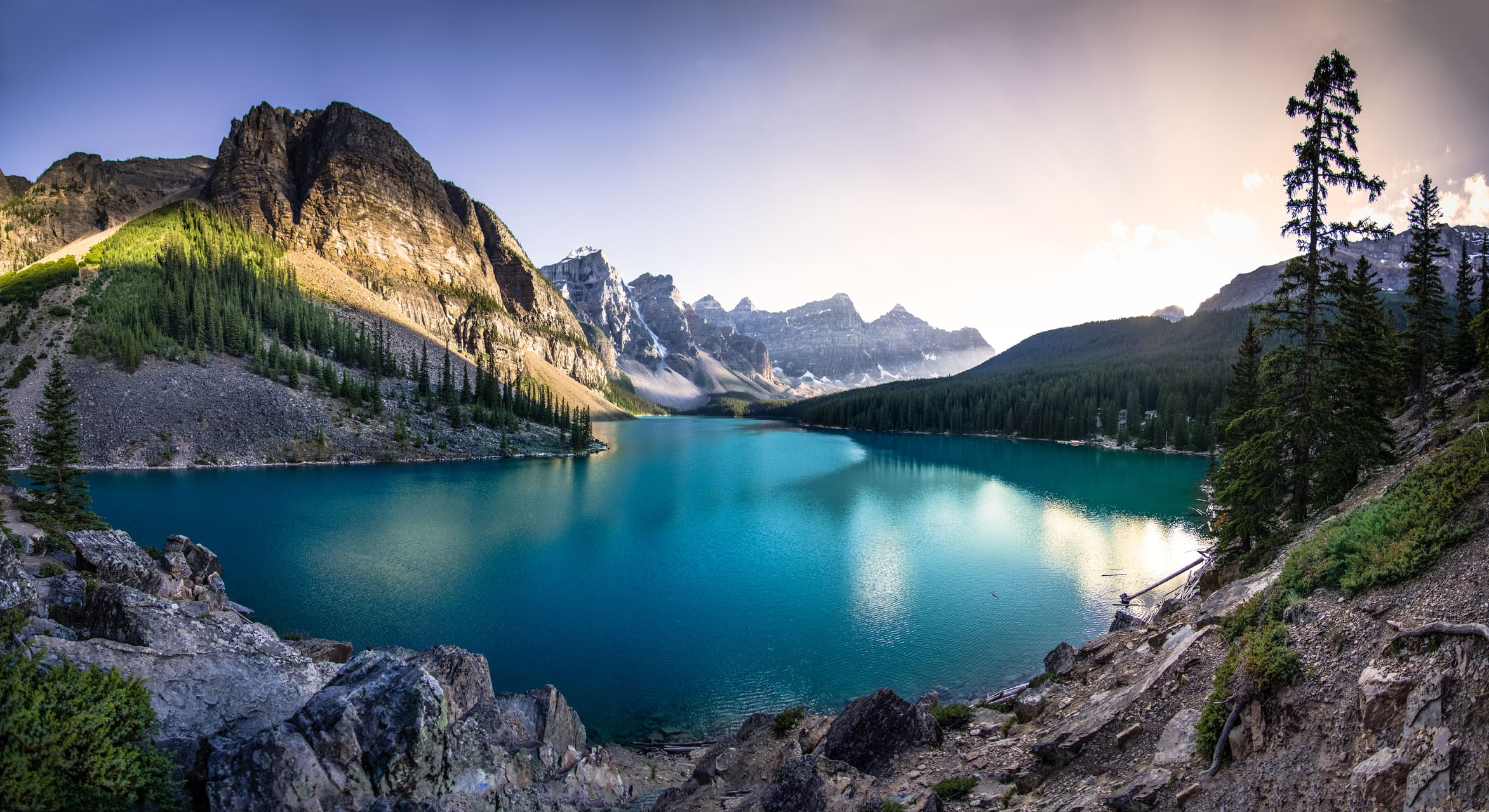 mountain lake amazing landscape moraine award protection national sunset mountains parks canada sunrise around photographs create wallpapers application uiaa istock