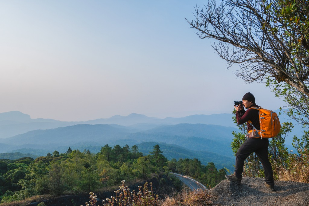 thai asian man traveler take photo view mountain of doi inthanon picture id943928530 image