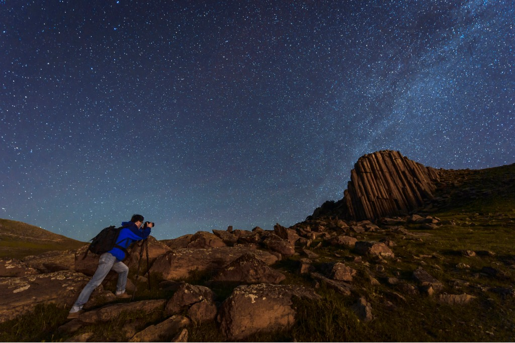 photographer working under the night sky picture id544669754 image