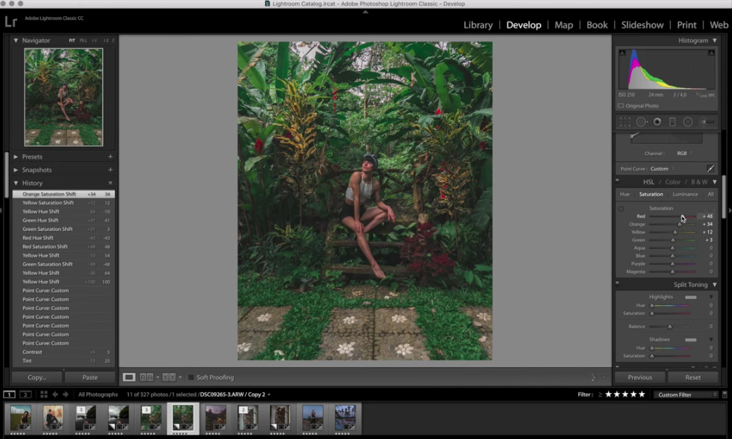 editing with lightroom image