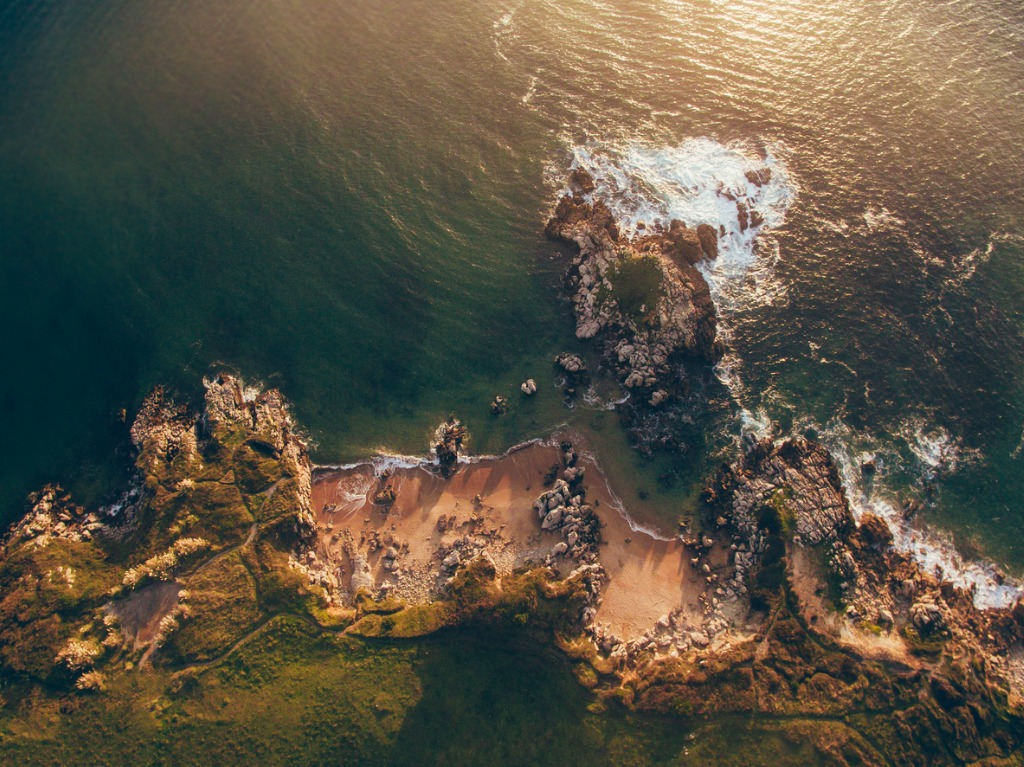aerial view of small rocky beach picture id854643610 image