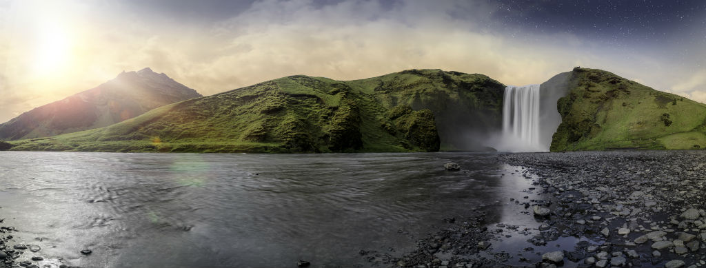 beautiful iceland waterfall image