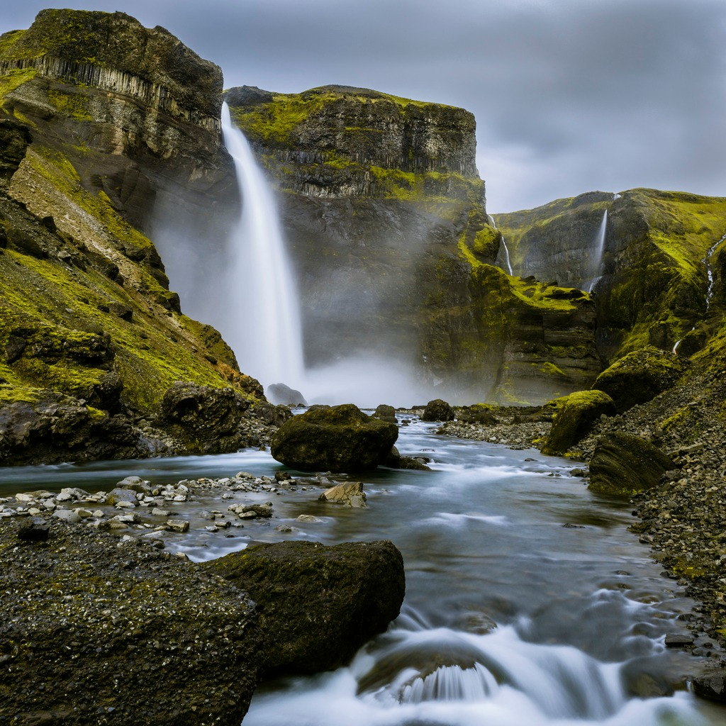 haifoss waterfall from the fossa river canyon in iceland picture id503563039 image