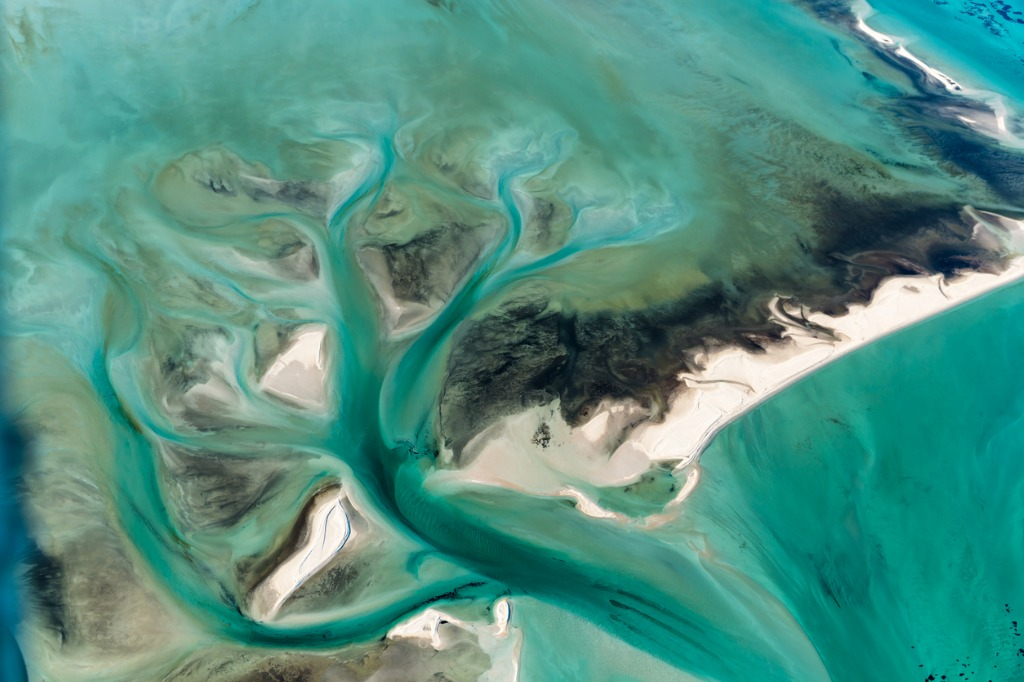 multi colored tidal water channels transforming the white sand banks picture id596391396 image