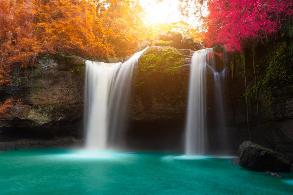 amazing beautiful waterfalls in autumn forest picture id671988612 image