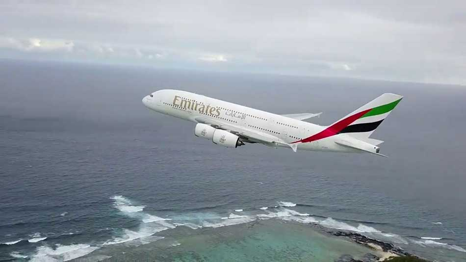 drone films plane taking off image