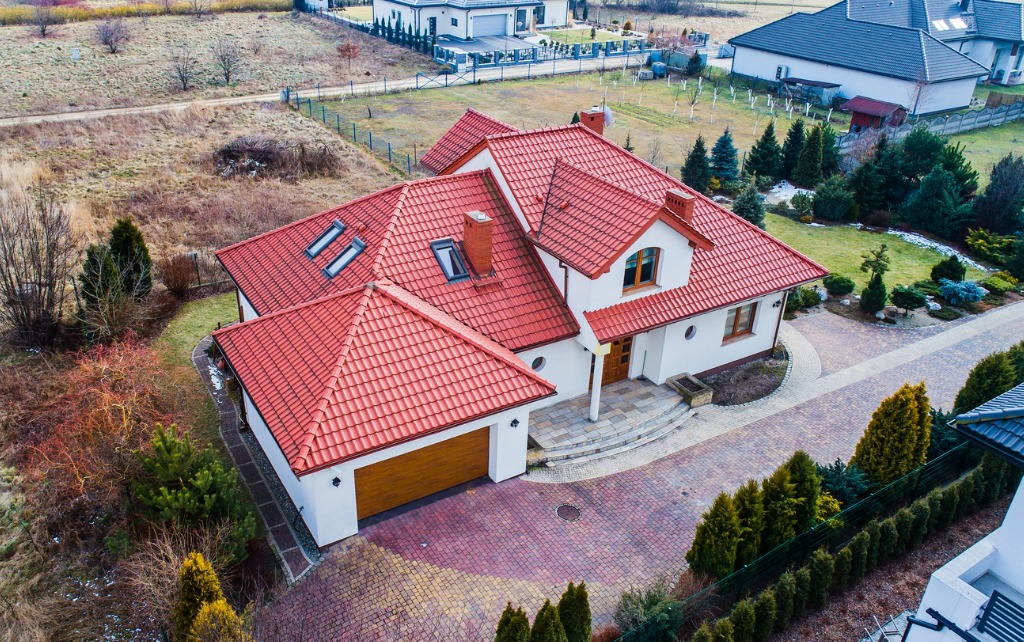 aerial drone view on single family house picture id925391702