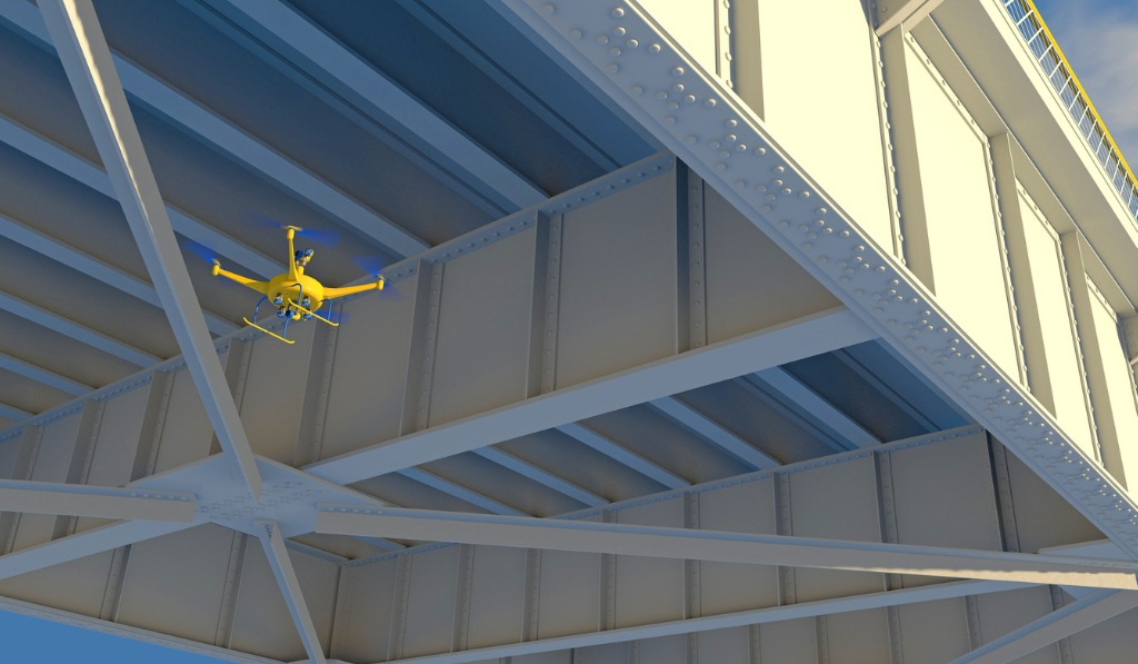 drone inspecting a steel bridge picture id859375088