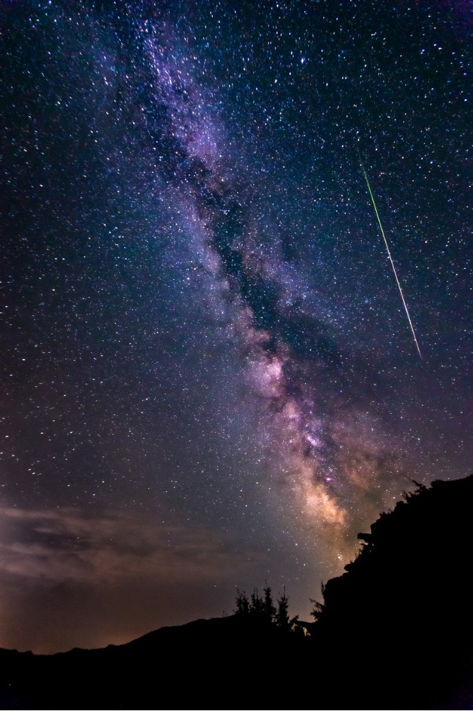 bright shooting star with milky way galaxy clear starry night picture id488004772 image