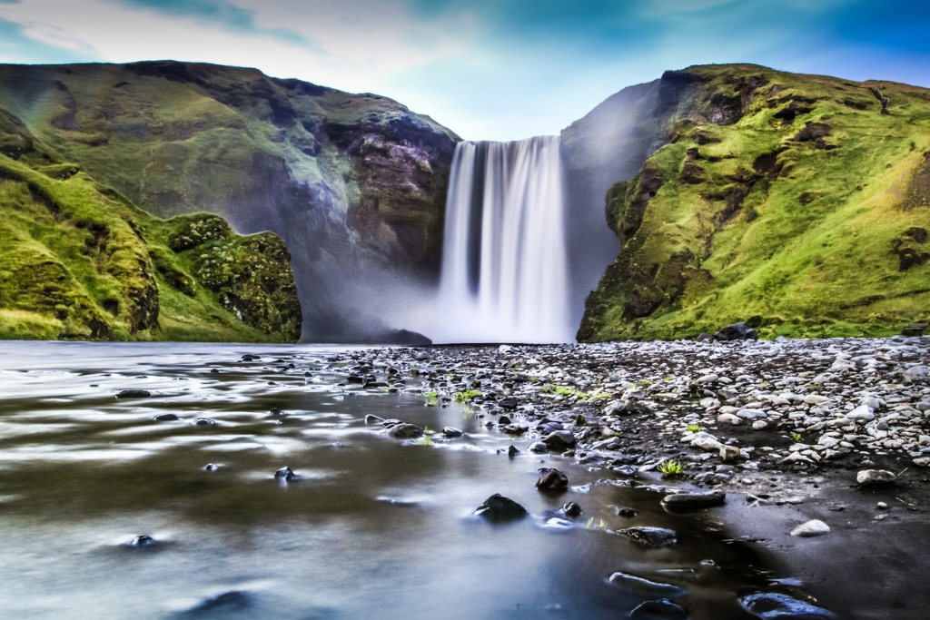 long exposure of skogafoss waterfall in iceland at dusk picture id526114939 image