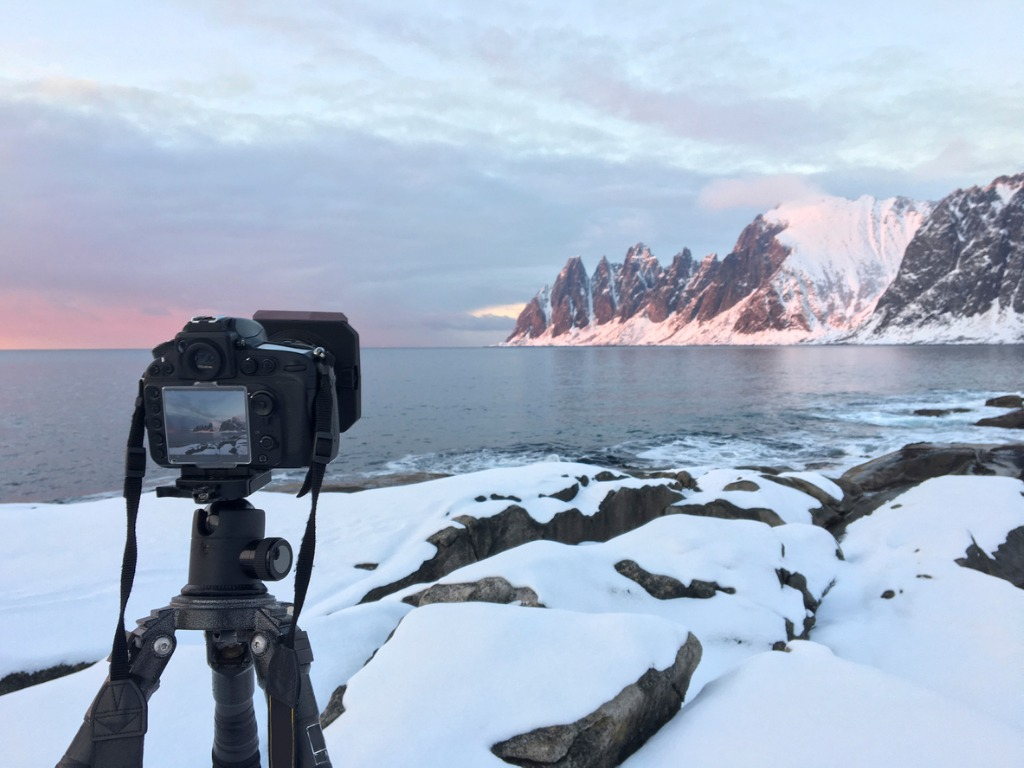 photographing the sunset over okshornan mountain range in northern picture id853959804 image