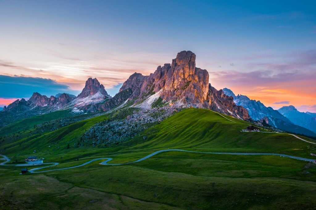 sunset over pass giau dolomites alps italy picture id870755576 image