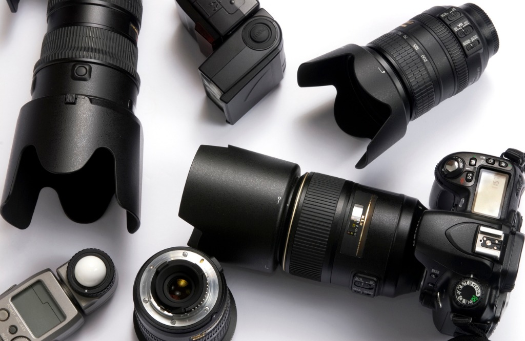 various digital camera equipment on a white background picture id140406365 image