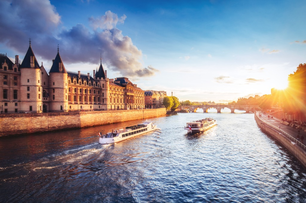 dramatic sunset over river seine in paris france with conciergerie picture id863383050 image