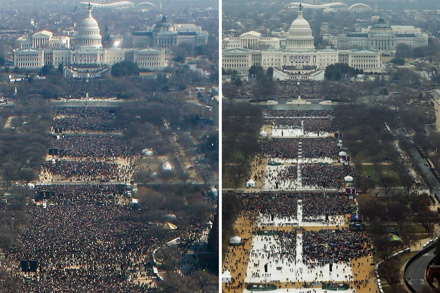 obama trump inauguration photos side by side image