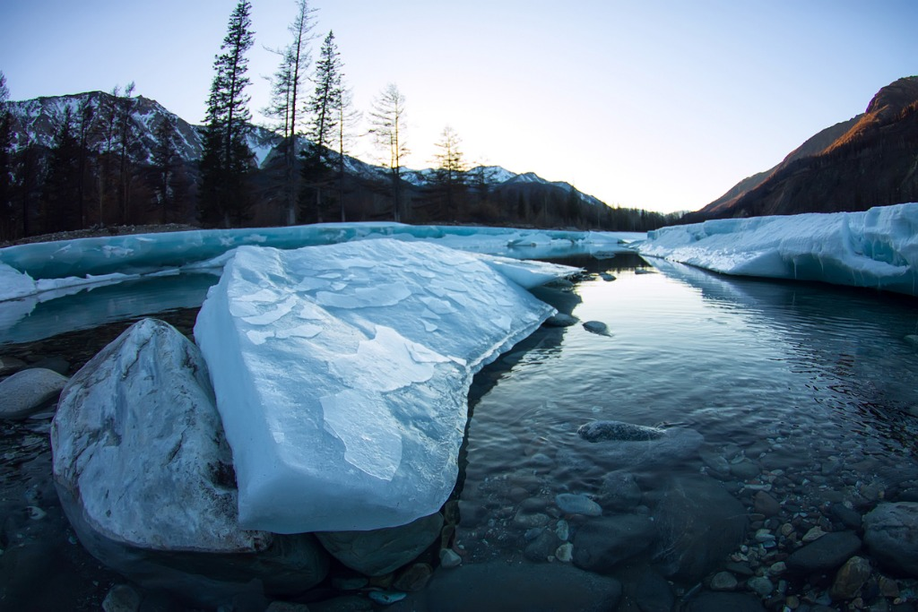 glacier ice melts in the spring on the river in the mountains picture id873515784 image