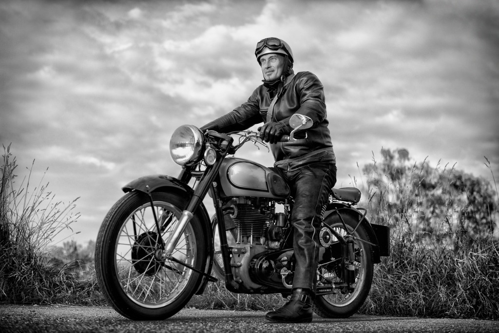 biker on vintage motorcycle picture id519096267 image