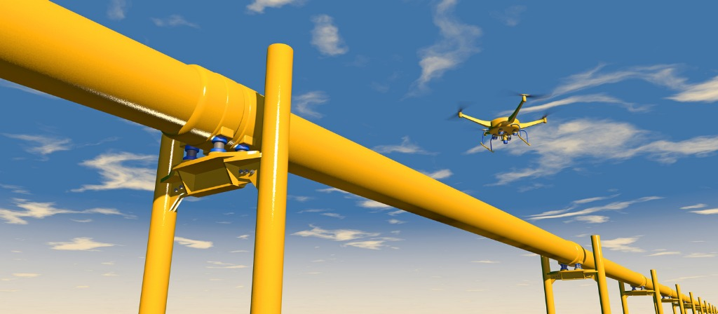 drone inspecting pipeline 3d render picture id466682846