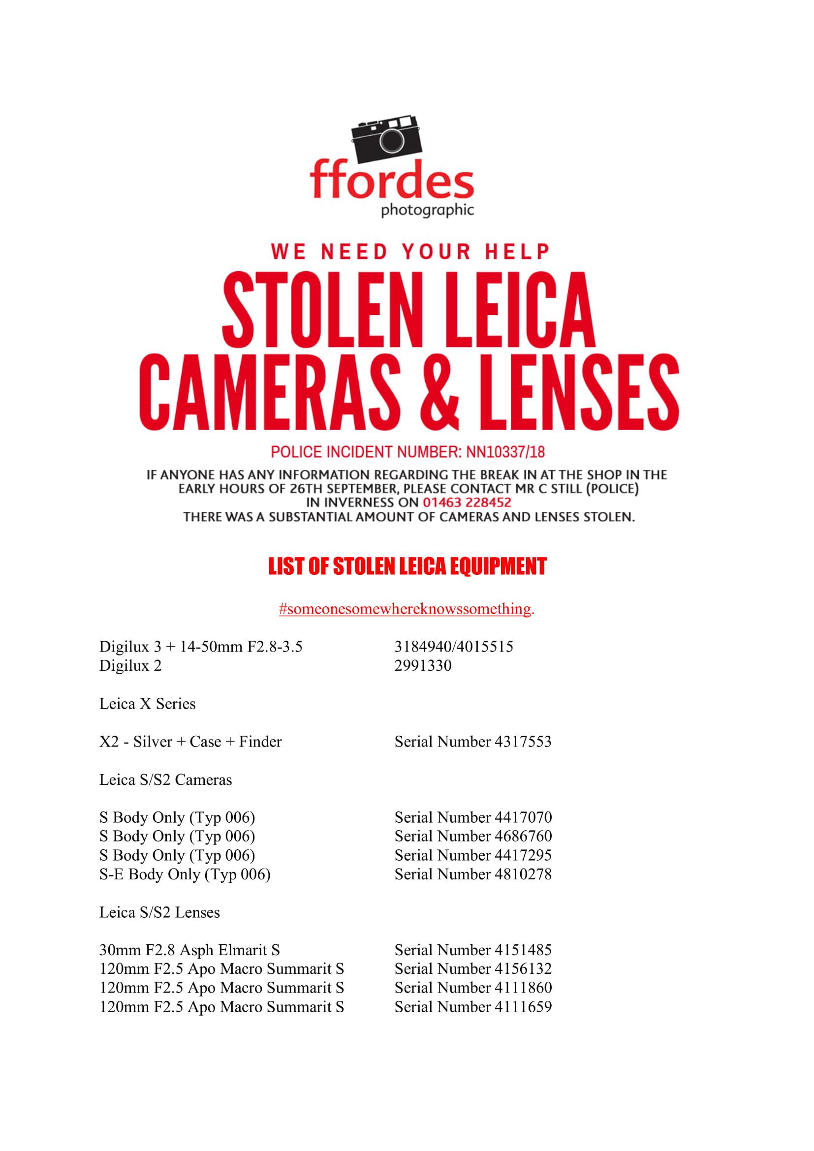 FFORDES LIST OF STOLEN LEICA EQUIPMENT 1 image