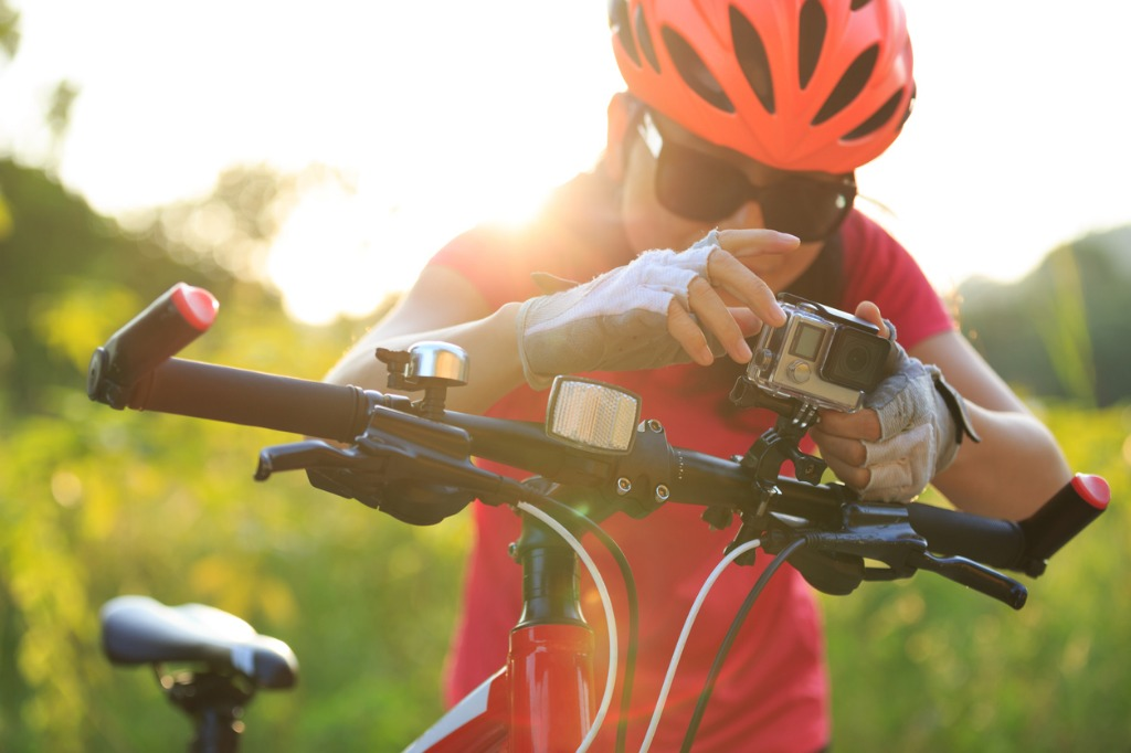 cyclist mount the action camera on mountain bike picture id864511874 image