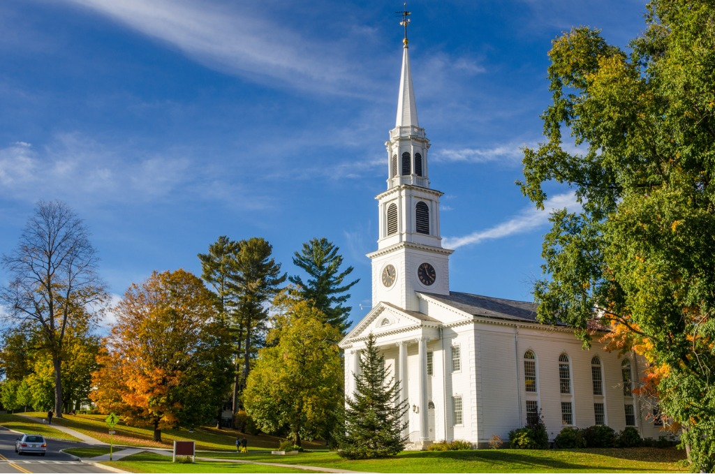 traditional american white church and blue sky picture id821257904 image