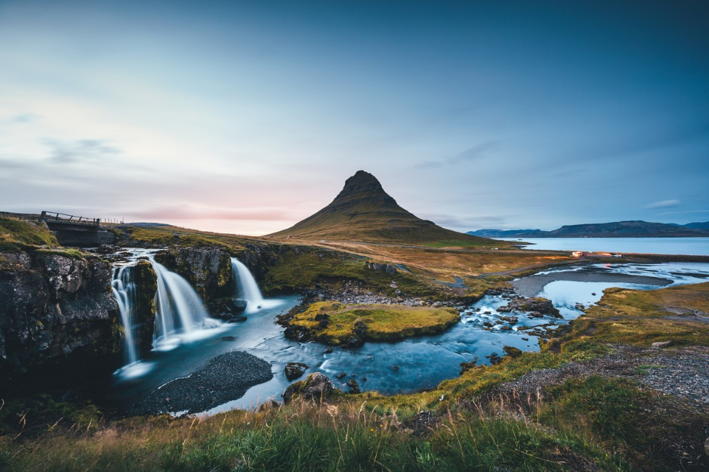 landscape in iceland with mount kirkjufell at sunset picture id955979910 image