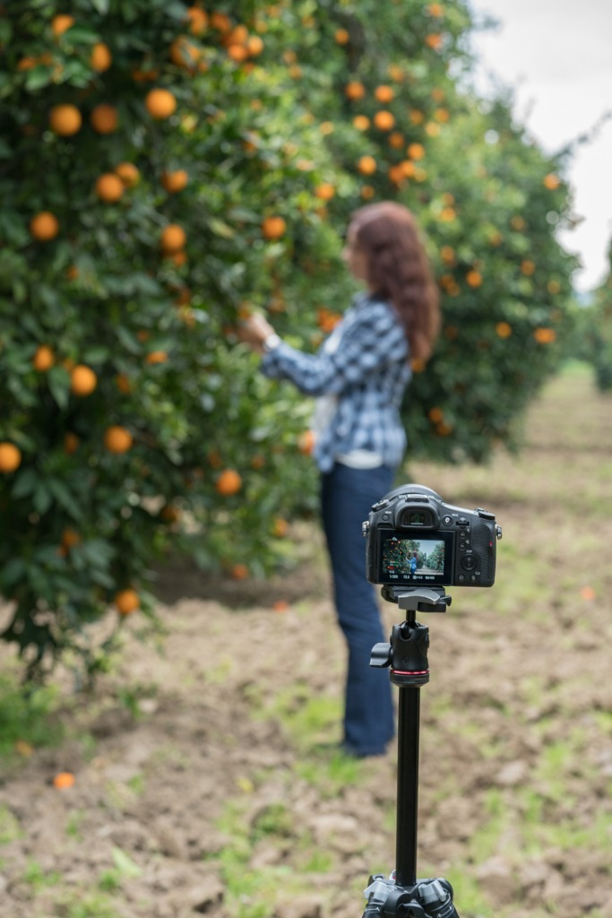 happy mid adult women vlogging in orange garden picture id932212468 image