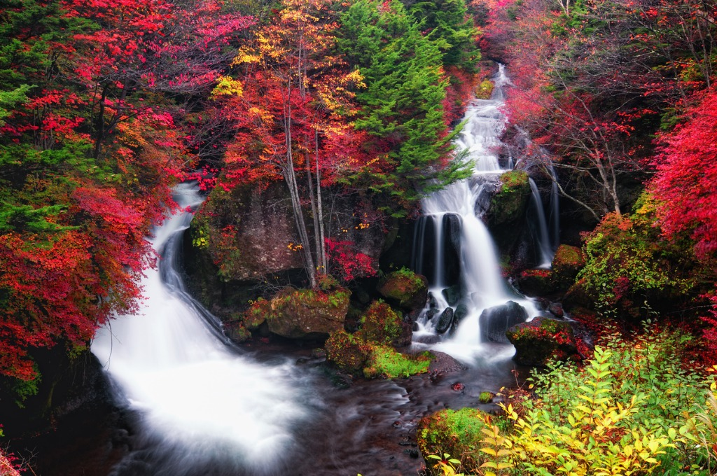 ryuzu falls in autumn at dawn picture id170929849 image