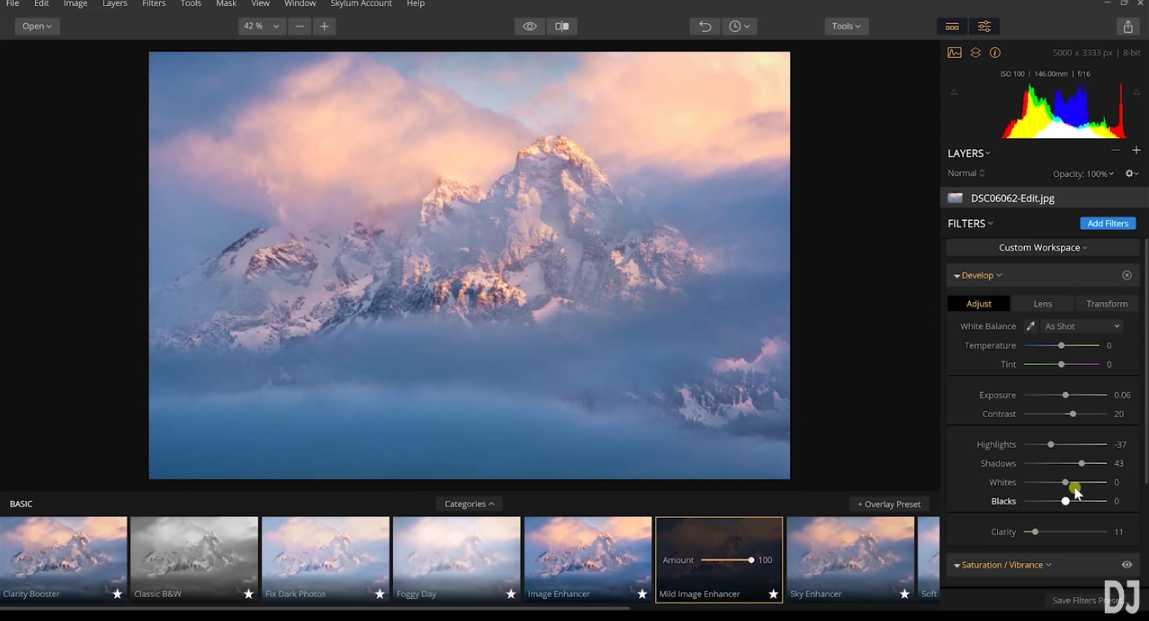adjust preset image