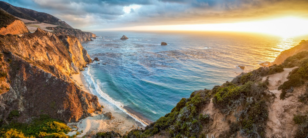 big sur coastline panorama at sunset california usa picture id917302792 image