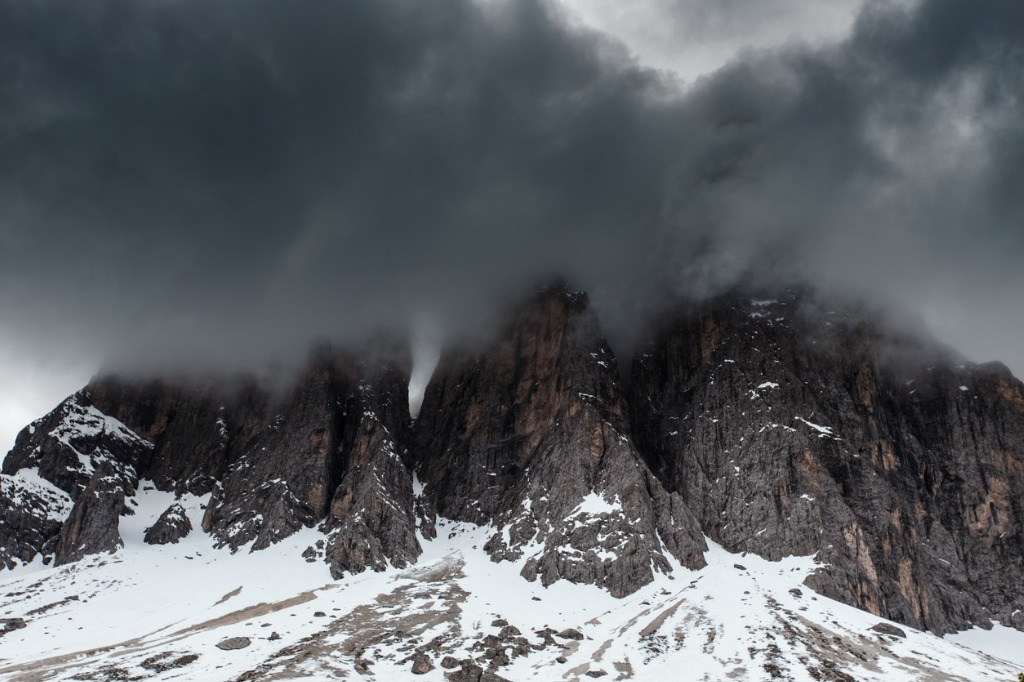 cloudy snowy mountains peaks landscape dolomites alps picture id838304076 image