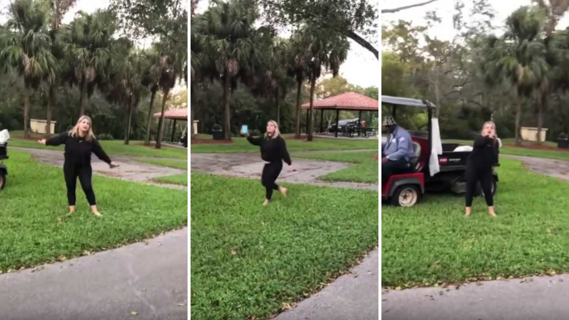 woman yells at photographer in park image