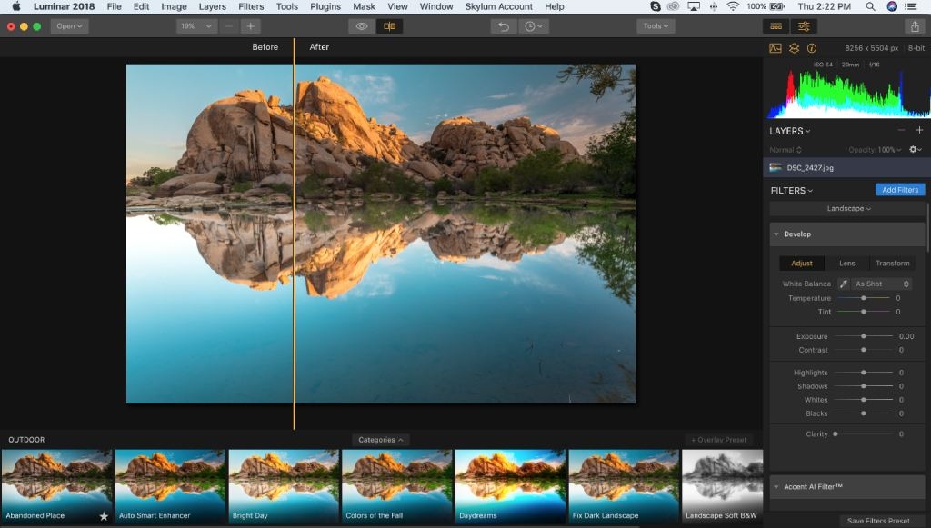 customizable panels luminar image