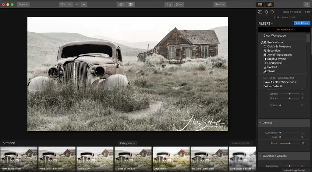 customize luminar workspace image